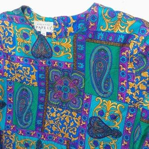 Vintage Adrianna Papell Silk Paisley Top- Size 16